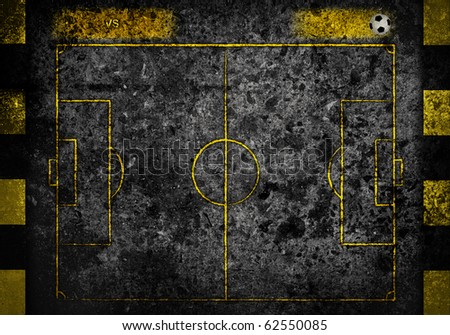 street soccer field with team name and score board in dark grunge style