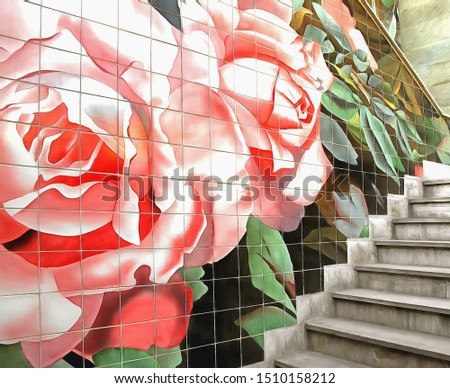 Street stairway with decorative tiled wall, Tehran capital city, Iran (photo turned into the ultra-realistic photo-painting with a photo to painting application)