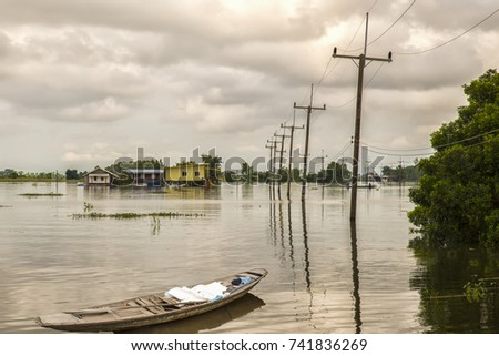 Street submerged in water due to flood #741836269