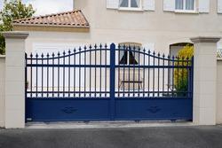 street suburb portal home blue steel vintage metal retro house gate