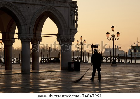 Street Sweeper in Piazza San Marco, Venice, Italy - stock photo