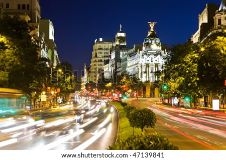 Street traffic in night Madrid, Spain - stock photo