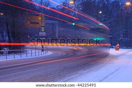Street traffic in snowstorm, Frankfurt, Germany