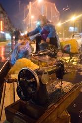 Street vendor in the rainy season