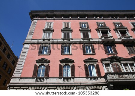 Street view and Mediterranean architecture in Rome, Italy