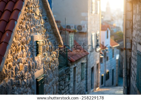 Street view in old city center of Split in Croatia in the sunset