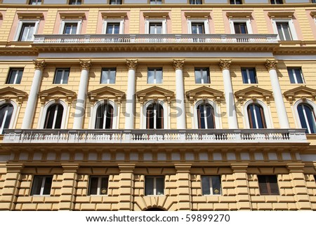 Street view - Mediterranean architecture in Rome, Italy