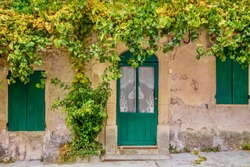 Street view of a simple, old-fashioned French village house in Provence, with wooden doors and shutters, lace curtains in the windows, and grapevines trailing over the facade.