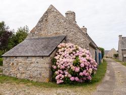 Street view of beautiful Rostudel village. former fishing village, Parc naturel regional d'Armorique. Finistere department, Camaret-sur-Mer. Brittany.