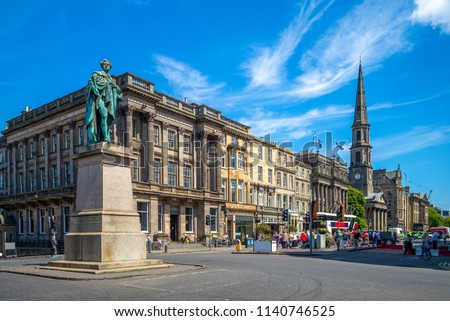 street view of George street at Edinburgh, scotland