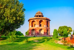 Street view of the Sher Shah Mandal Pavilion or Humayuns library is located inside the Purana Qila old fort in Delhi city in India