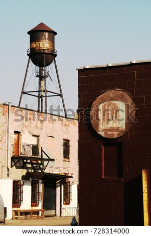 street view of water tower and...