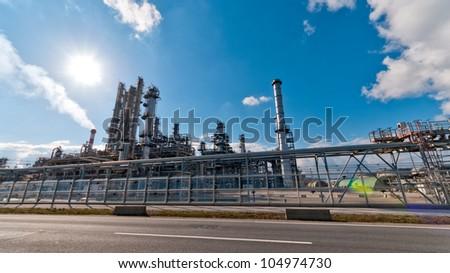street view through an oil refinery