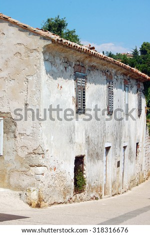 street view with old building in Croatia