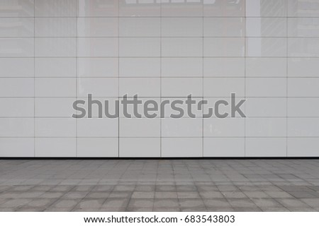 street wall background ,Industrial background, empty grunge urban street with warehouse brick wall #683543803