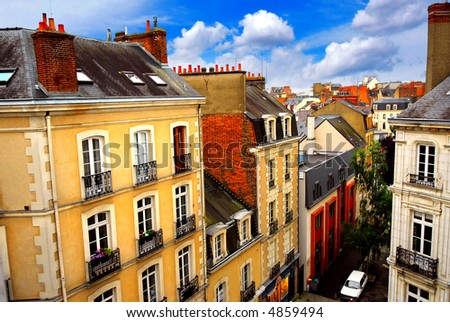 Street with colorful houses in Rennes, France, top view