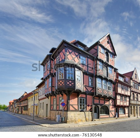 Street with half-timbered houses in the historic old town of Quedlinburg, Germany, UNESCO World Heritage Site