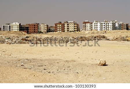 street with houses in Hurgada city, Egypt