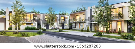 Street with modern and beautiful houses. Evening view. 3D rendering Сток-фото ©