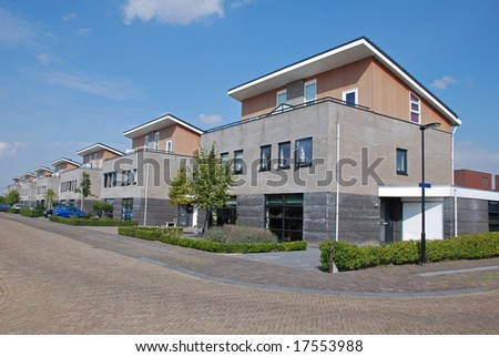 Street with modern family houses