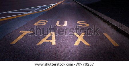 Street with special lane for bus and taxi in autumn