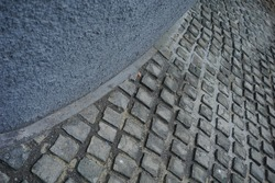 street with square paving block from several angle