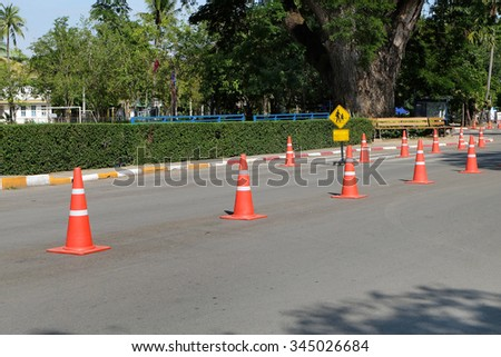 Street with traffic cone #345026684