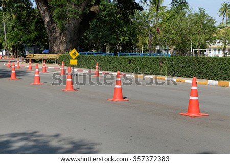Street with traffic cone #357372383