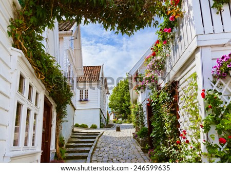 street with white wooden houses ...