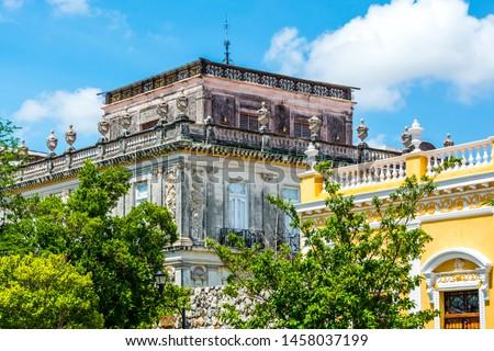 Streets and Buildings in Merida Yucatan Mexico