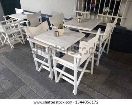 streets and cafes of kadıköy in istanbul, empty cafe restaurant tables #1544056172