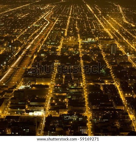 streets and lights of Chicago by night