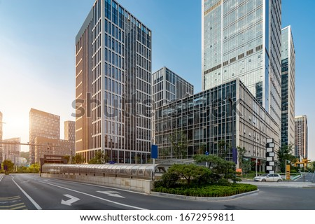 Streets and office buildings of Jinan central business district