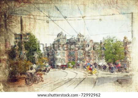 streets of amsterdam made in artistic style