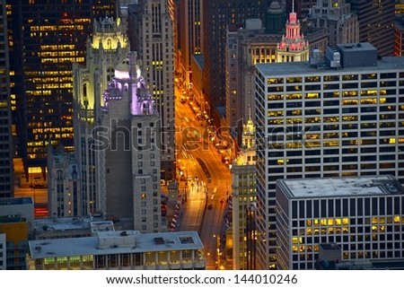 Streets of Chicago at Night - Bird Eye View. Michigan Avenue. Chicago, USA