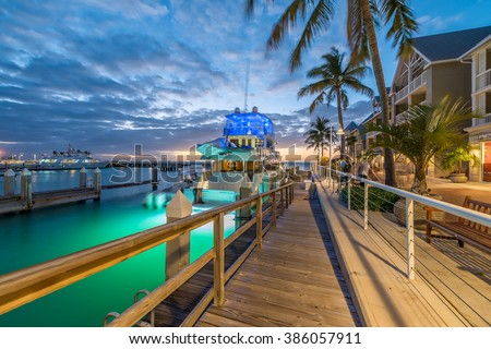 Streets of Key West, Florida at night.