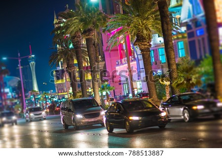 Streets of Las Vegas Nevada. Night Time on the Vegas Strip. City Traffic.