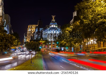 Streets of Madrid Spain at night #256540126
