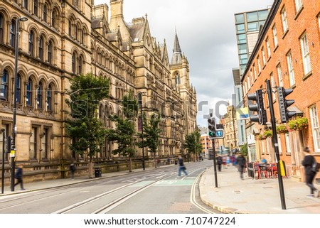 Streets of Manchester. The usual busy day in the city center  Uk, England. Britain #710747224
