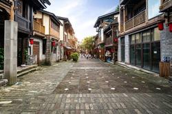 Streets of Nanshan ancient town in Chongqing, China