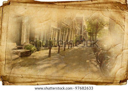 streets of Old Amsterdam made in retro style - stock photo