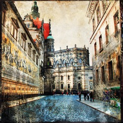 streets of old Dresden, artistic picture