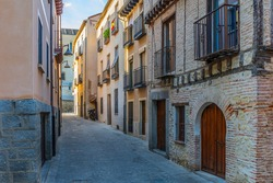 Streets of the historic Jewish quarter of the city of Segovia in Spain