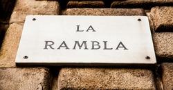 Streetsign of the famous La Rambla street in Barcellona, Spain
