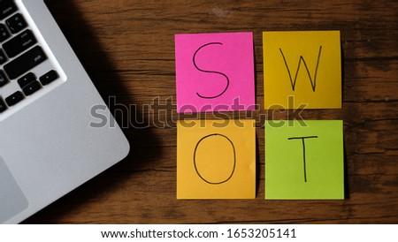 Strengths, Weaknesses, Opportunities, Threats analysis written note. SWOT Analysis.