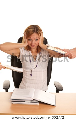 Stress at work - young business woman with too much work and under pressure and mobing