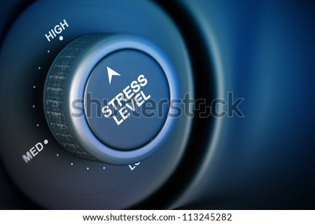 stress level button with low, medium and high word, black and blue background