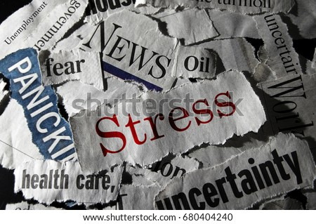 Stress news, surrounded by negative headlines #680404240