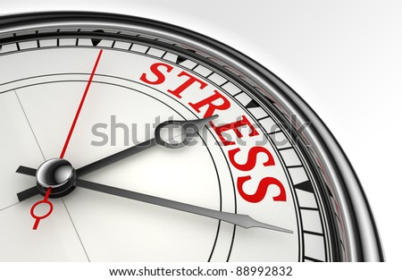 stress red word on concept clock closeup on white background