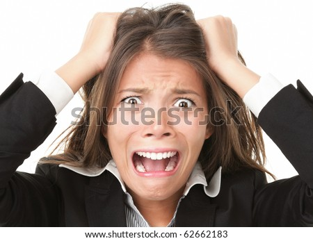 Crazy Hair Clipart. Woman stressed is going crazy